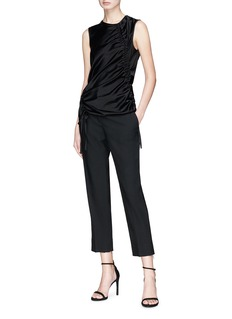 T By Alexander Wang Asymmetric drawstring satin sleeveless top