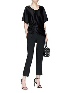 T By Alexander Wang Asymmetric drawstring satin top