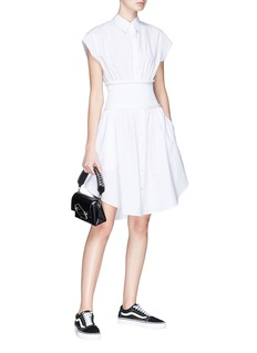 T By Alexander Wang Knit panel poplin shirt dress