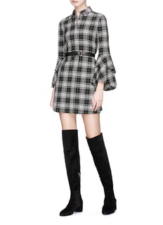 alice + olivia 'Jem' tartan check twill shirt dress