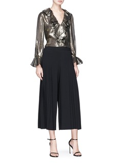 alice + olivia 'Elliot' ruffle metallic V-neck top
