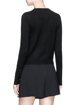 Back View - Click To Enlarge - alice + olivia - 'Ruthy' beaded apple intarsia wool-cotton cardigan