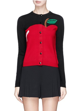 Main View - Click To Enlarge - alice + olivia - 'Ruthy' beaded apple intarsia wool-cotton cardigan