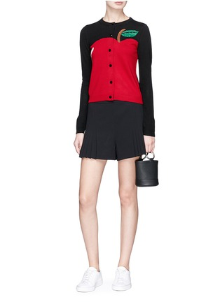 Figure View - Click To Enlarge - alice + olivia - 'Ruthy' beaded apple intarsia wool-cotton cardigan