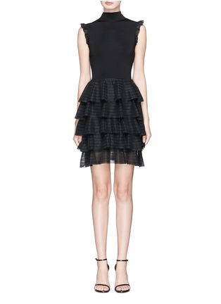 Main View - Click To Enlarge - alice + olivia - 'Janice' tiered ruffle knit dress