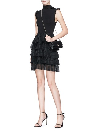 Figure View - Click To Enlarge - alice + olivia - 'Janice' tiered ruffle knit dress
