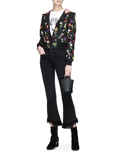alice + olivia 'Lonnie' floral embroidered cropped hooded satin bomber jacket