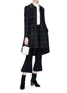 alice + olivia 'Marcia' embellished collar check wool blend coat