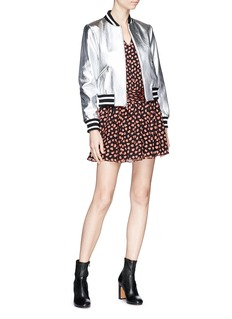 alice + olivia 'Demia' cropped metallic leather bomber jacket