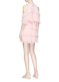 alice + olivia 'Nichola' tiered ruffle silk chiffon cold shoulder dress