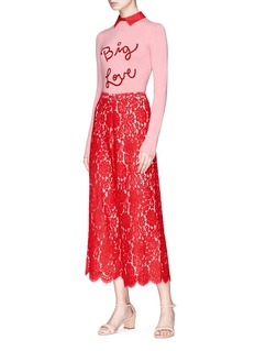 alice + olivia 'Olsen' floral guipure lace culottes