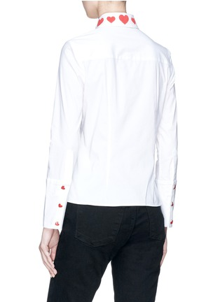 Back View - Click To Enlarge - alice + olivia - 'Faye' heart embroidered collar shirt