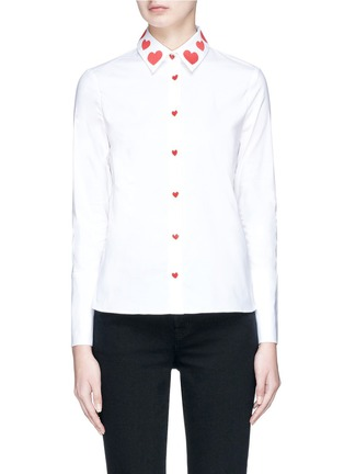 Main View - Click To Enlarge - alice + olivia - 'Faye' heart embroidered collar shirt