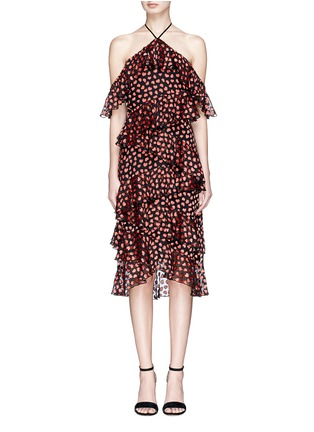 Main View - Click To Enlarge - alice + olivia - 'Annabeth' tiered ruffle heart print off shoulder dress