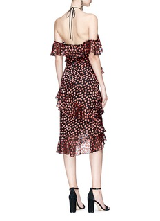 alice + olivia 'Annabeth' tiered ruffle heart print off shoulder dress