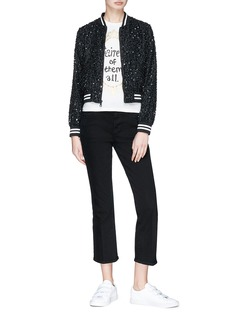 alice + olivia 'Lonnie' slogan embellished cropped bomber jacket