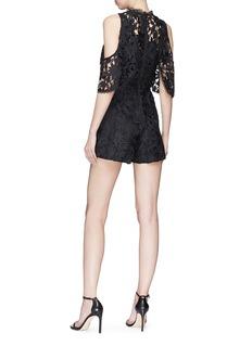 alice + olivia 'Junie' cold shoulder floral lace romper