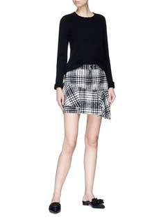 alice + olivia 'Nisa' asymmetric ruffle check plaid skirt