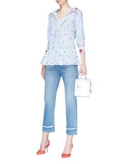 alice + olivia 'Ashlyn' floral embroidered peplum stripe shirt