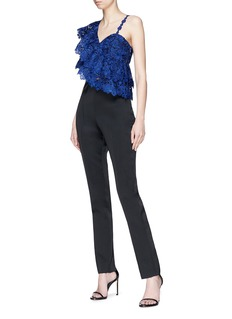 alice + olivia 'Saba' one-shoulder tiered ruffle floral lace cropped top