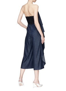 alice + olivia 'Elvira' off-shoulder ruffle trim denim jumpsuit