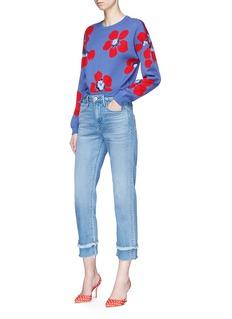 alice + olivia 'Leena' floral intarsia cropped sweater