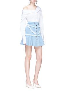 C/Meo Collective  'Stranded' frayed trim mini denim skirt