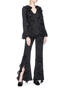 C/Meo Collective  'Dream State' ruffle split cuff crepe flared pants