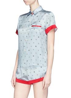 Morgan Lane 'Staci' daisy bee print silk charmeuse pyjama top