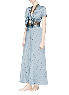 Morgan Lane 'Roxy' lace trim daisy bee print silk charmeuse pyjama top