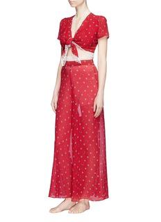 Morgan Lane 'Elisa' lace trim daisy bee print silk chiffon pyjama pants