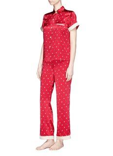 Morgan Lane 'Chantal' daisy bee print silk charmeuse pyjama pants