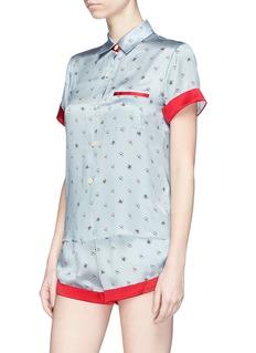 Morgan Lane 'Chloe' daisy bee print silk charmeuse pyjama shorts