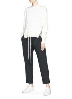 bassike Satin panel drawstring cropped suiting pants