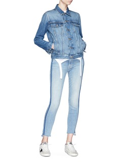MOTHER 'Stunner Zip Ankle Step Fray' stripe outseam jeans