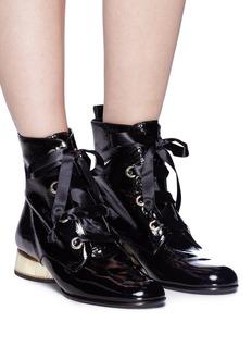 Paloma Barceló 'Genil Jasmine' geometric heel patent leather boots