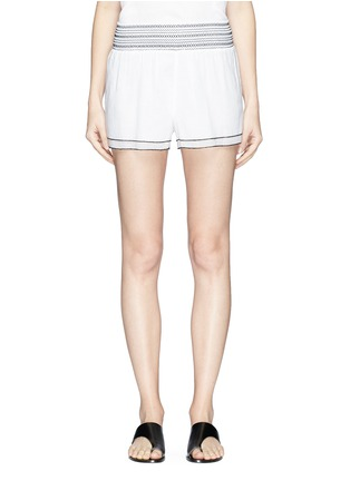 Main View - Click To Enlarge - Kisuii - 'Gal' smocked waist voile shorts