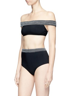 Kisuii Smocked band high waist bikini bottoms