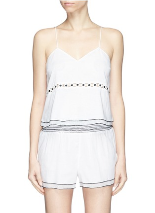 Main View - Click To Enlarge - Kisuii - 'Emma' floral cutout waist camisole top