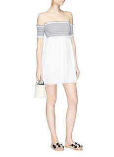 Kisuii 'Aya' smocked panel off-shoulder dress