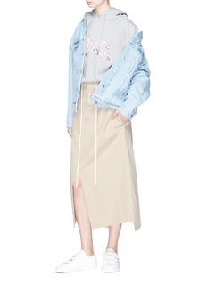 bassike Split hem drawstring piqué canvas midi skirt