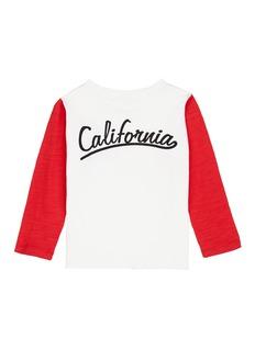 Little Starters x Lane Crawford 'California' slogan print colourblock sleeve kids T-shirt