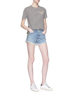 Sandrine Rose 'The Two Hundred in Must' slogan embroidered stripe T-shirt