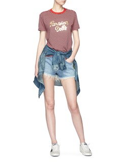 Sandrine Rose 'The Doll in Libertine' stud frayed denim shorts