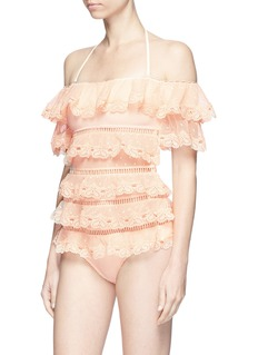 Zimmermann 'Painted Heart Love' ruffle off-shoulder one-piece swimsuit
