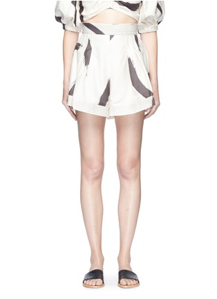Main View - Click To Enlarge - Zimmermann - 'Painted Heart' brushstroke print flared silk shorts