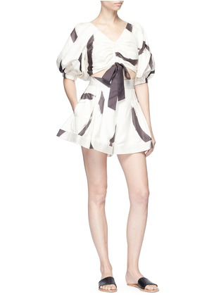 Figure View - Click To Enlarge - Zimmermann - 'Painted Heart' brushstroke print flared silk shorts