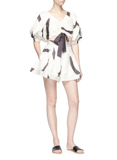 Zimmermann 'Painted Heart' brushstroke print flared silk shorts