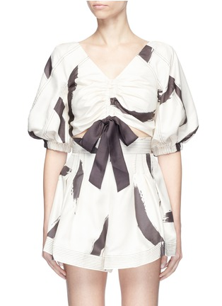 Main View - Click To Enlarge - Zimmermann - 'Painted Heart' brushstroke print ruched crop top