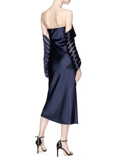 Dion Lee Spiral net sleeve off-shoulder satin dress